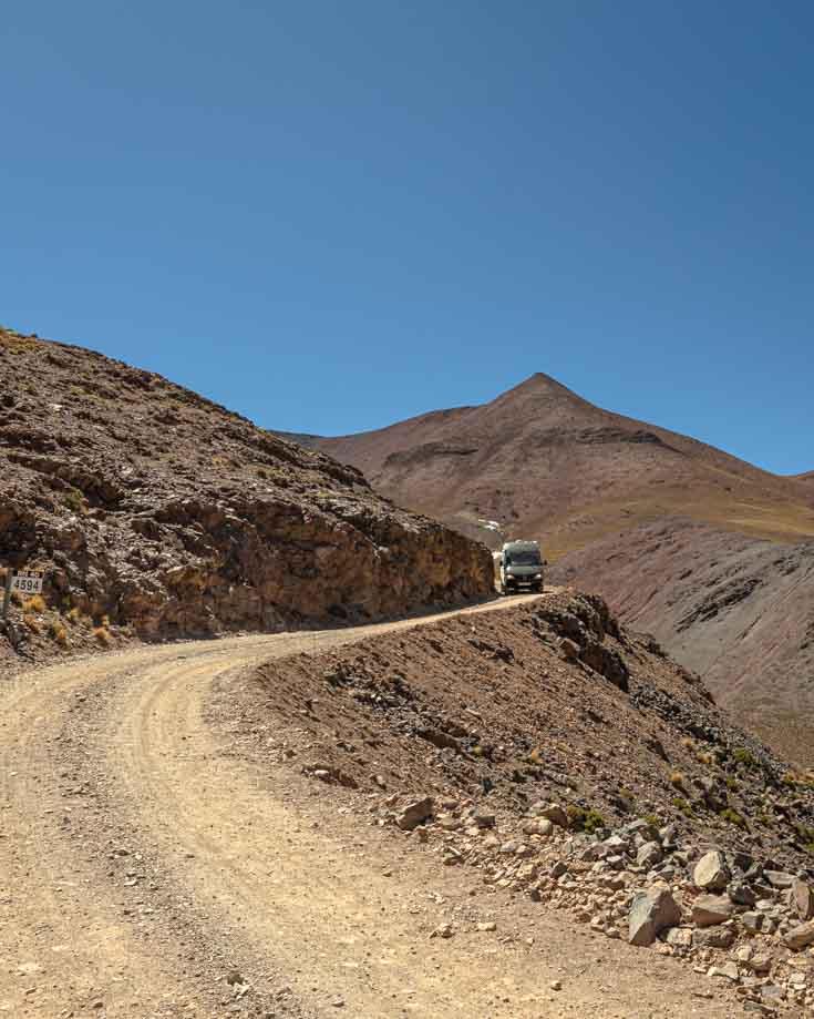 Mercedes Sprinter 4x4 camper van driving Abra del Acay on Ruta 40 in Argentina
