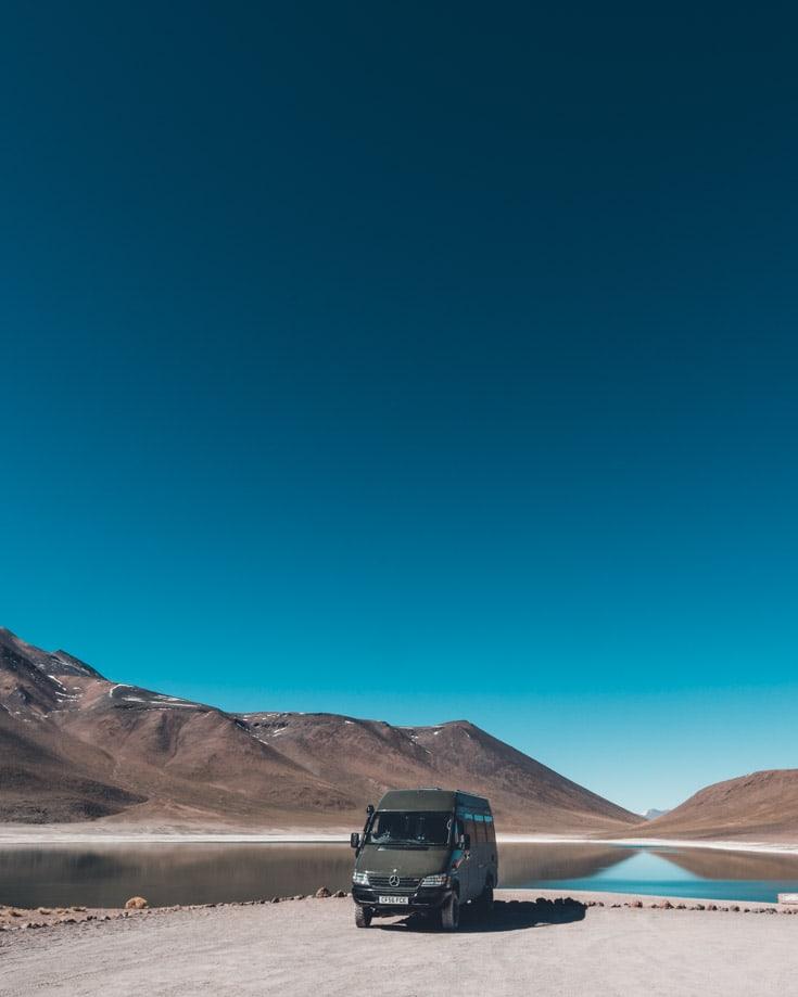 Mercedes Sprinter 4x4 camper van driving Paso de Sico in Chile