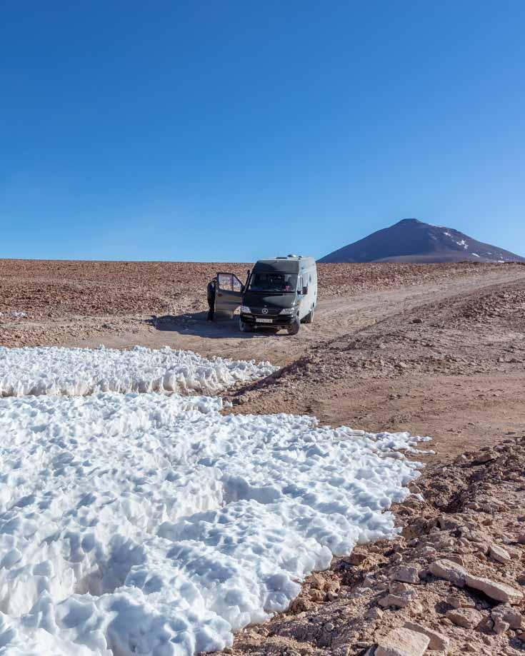 Mercedes Sprinter 4x4 camper van driving the Lagunas Route in Bolivia