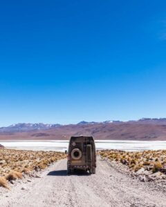 Mercedes Sprinter 4x4 camper van driving the Lagunas Route in Bolivia