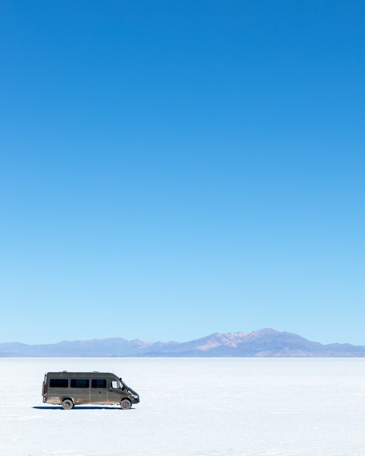 4x4 camper van boondocking on Salar de Uyuni in Bolivia