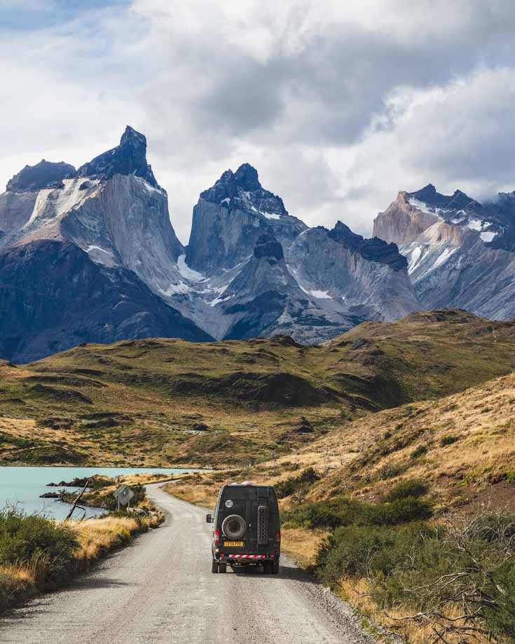 Mercedes Sprinter 4x4 camper van driving in Torres del Paine
