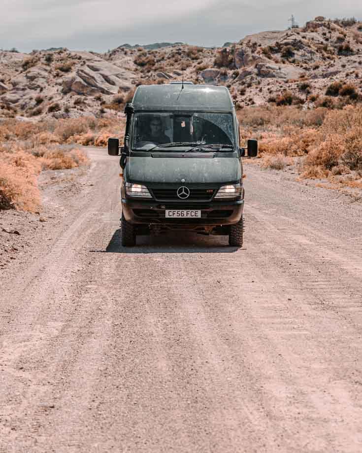 Mercedes Sprinter 4x4 camper van driving on Ruta 40 Argentina