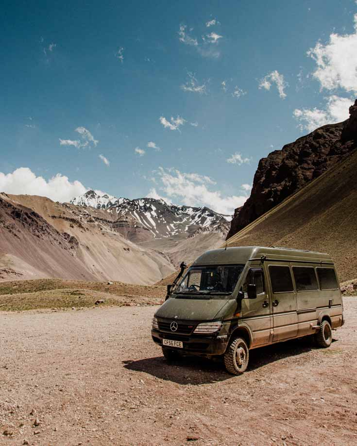 Mercedes Sprinter 4x4 camper van driving near Aconcagua in Argentina