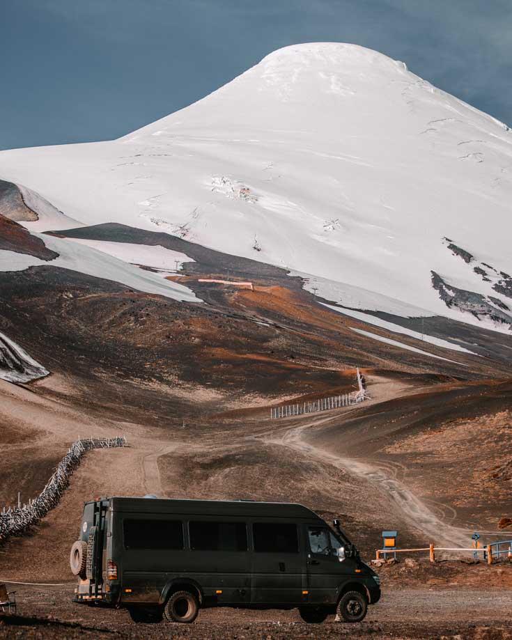 4x4 Sprinter camper van boondocking on Osorno volcano in Chile