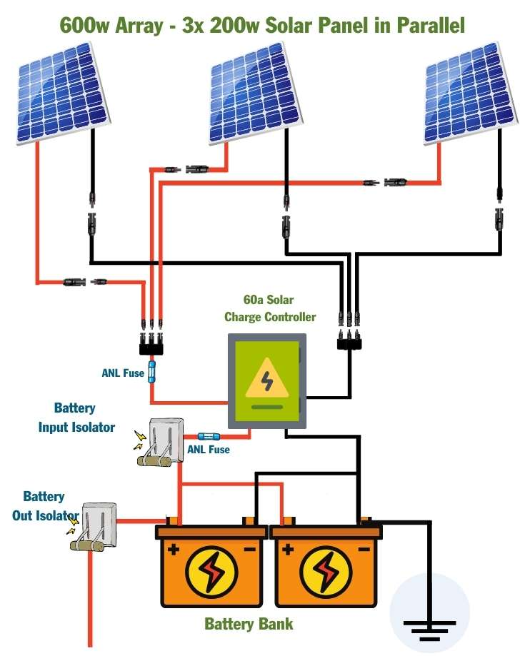 600 watt solar panel wiring diagram parallel