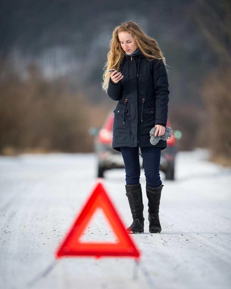 Warning triangle on roadside