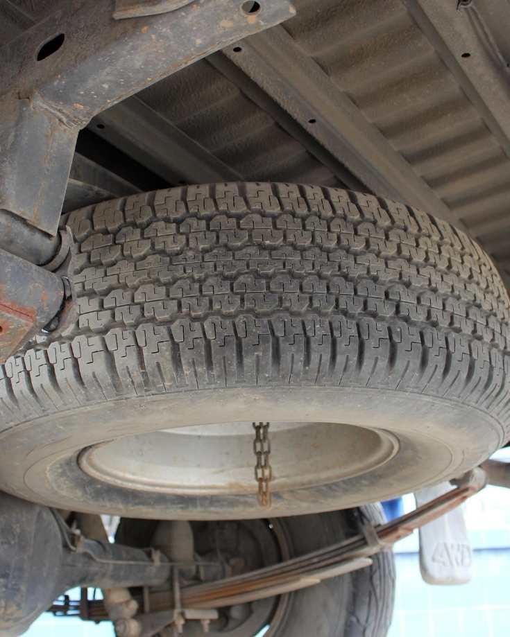 Full size spare wheel underneath car