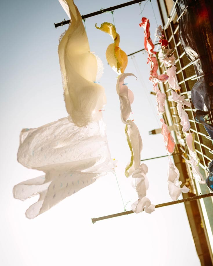 laundry drying on a clothes in the sunshine