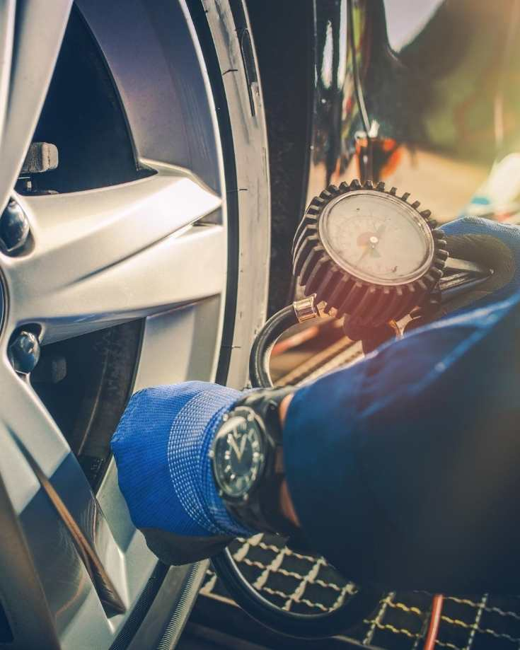 Releasing air pressure from tyres