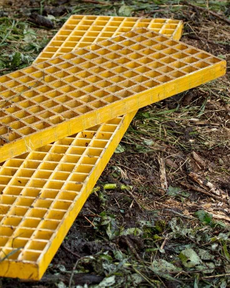 Traction track waffle boards on grass
