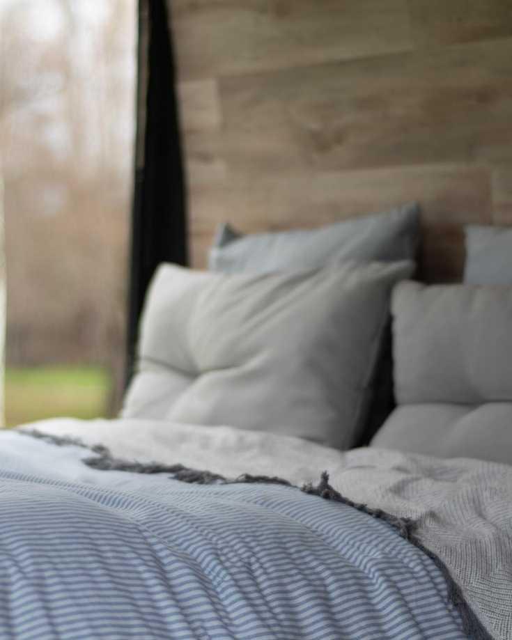 A cosy campervan bed