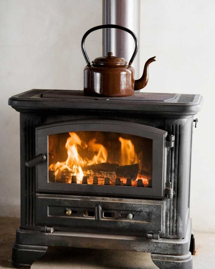 RV wood stove with flames