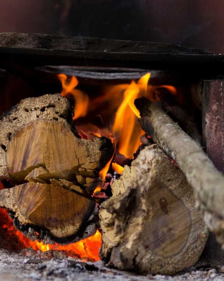 Fire in a wood stove
