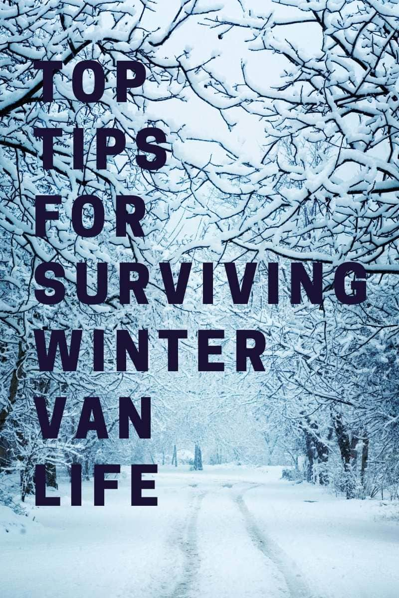 Living in a camper in the winter pinterest image