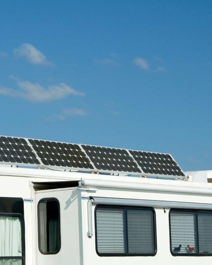 Solar panels on the roof of an RV