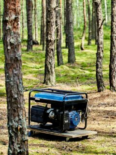 generator in a forest, clean energy is better for our environment and health