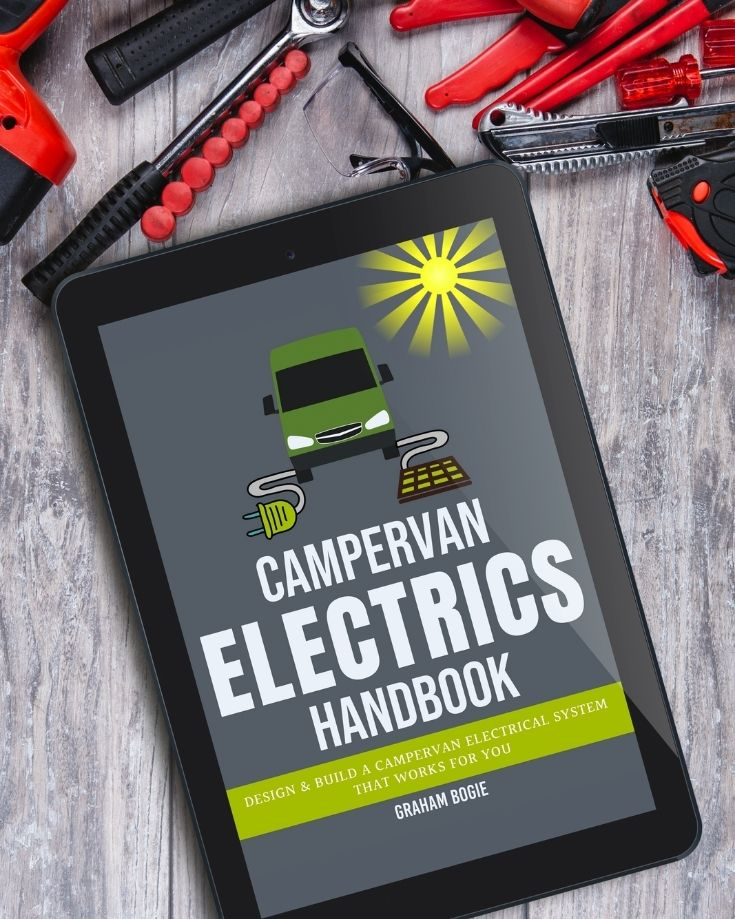 campervan electrics handbook cover on tablet
