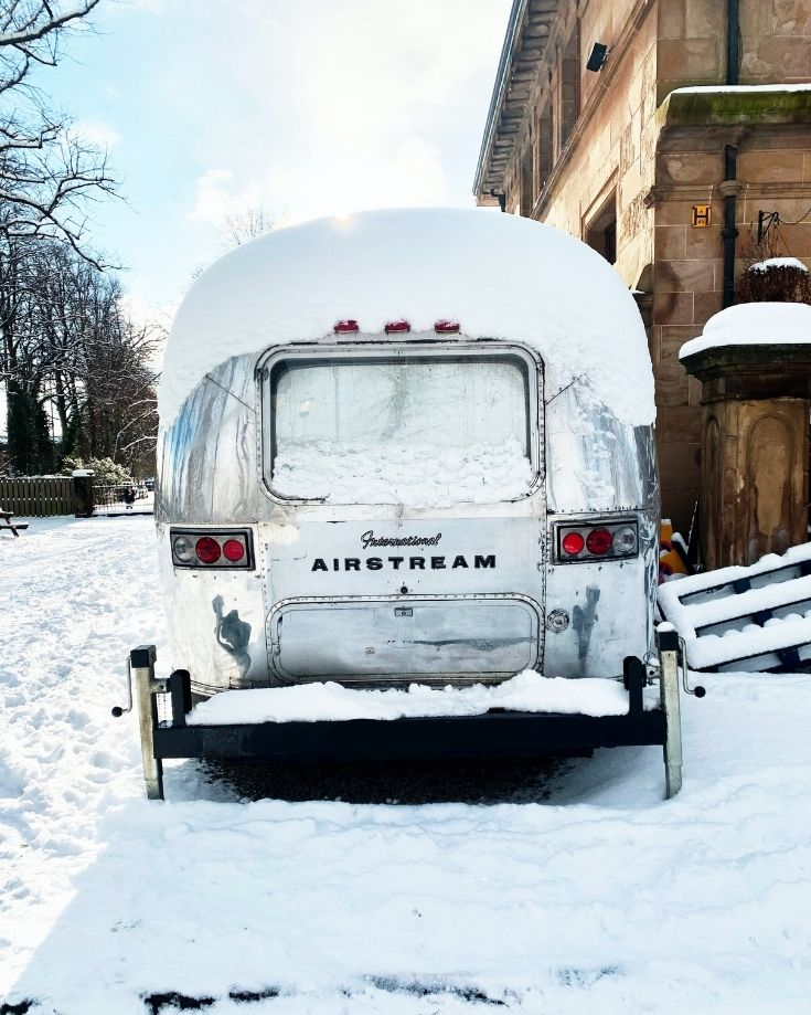 airstream in the snow without rv skirting