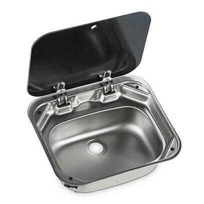 Dometic Black Glass Lid Square Caravan Sink