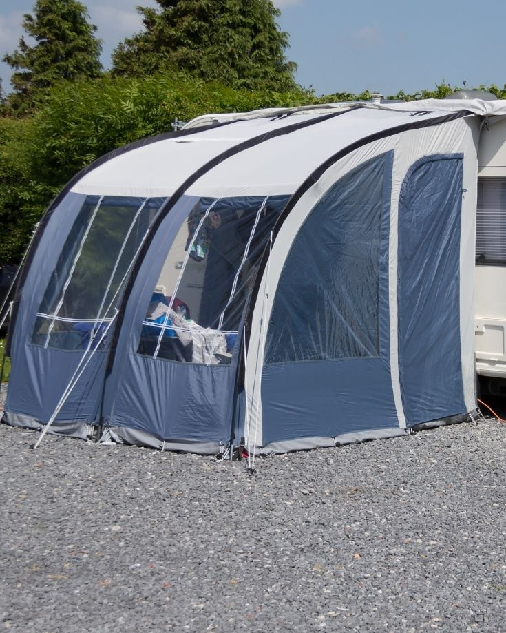 Connecting a freestanding awning to a camper is easy