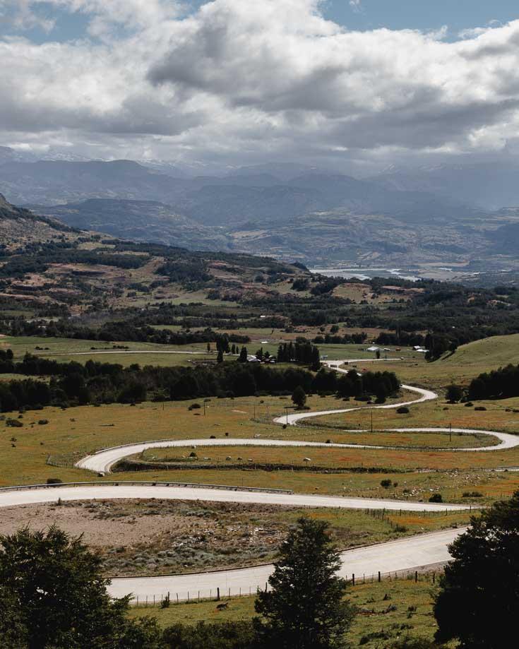 switch backs on the road near Cerro Castillo in Patagonia