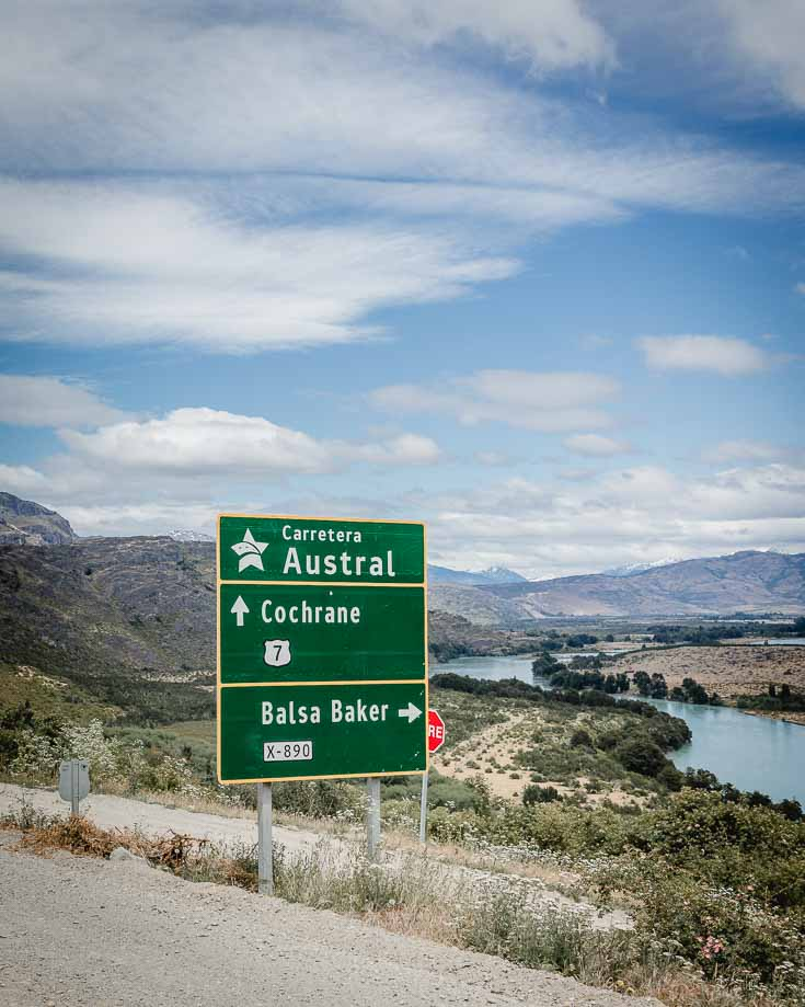 Carretera Austral road sign overlooking rivers and mountains