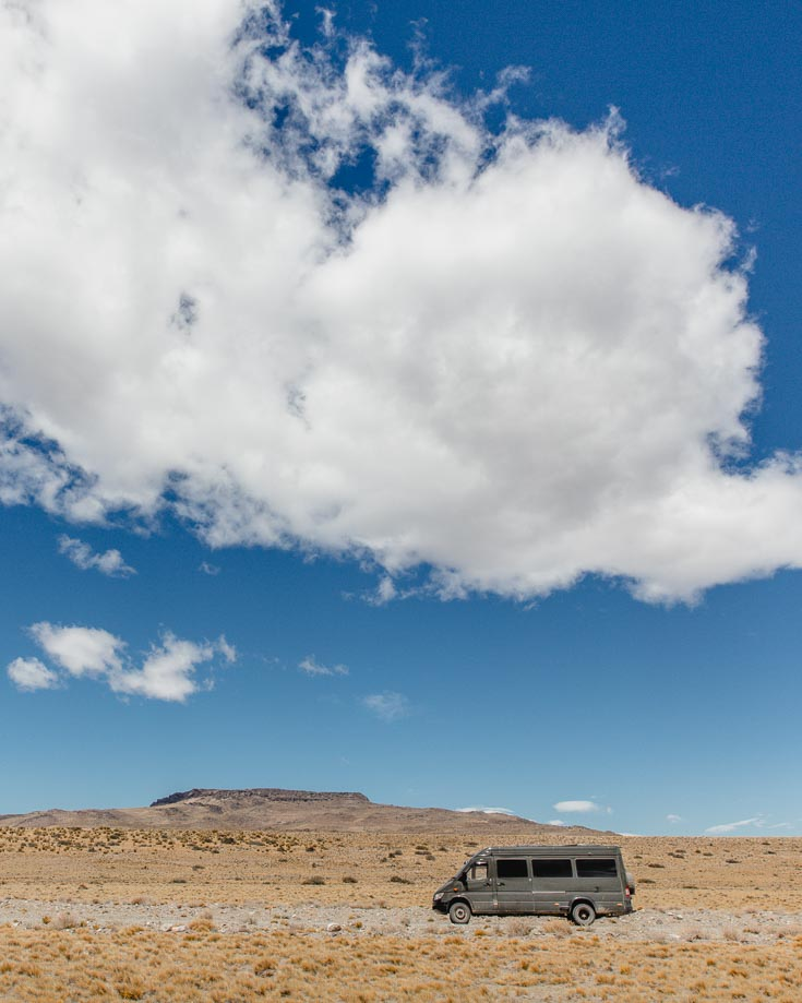 driving through the Patagonian Steppe