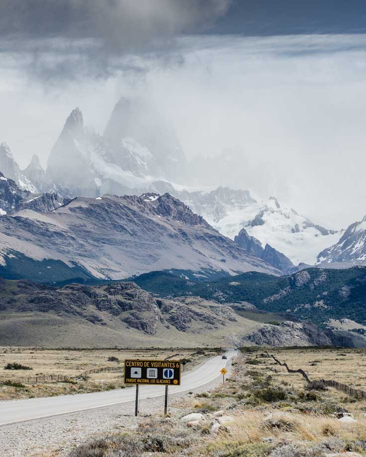 road leading to Mount Fitz Roy in Argentinian Patagonia