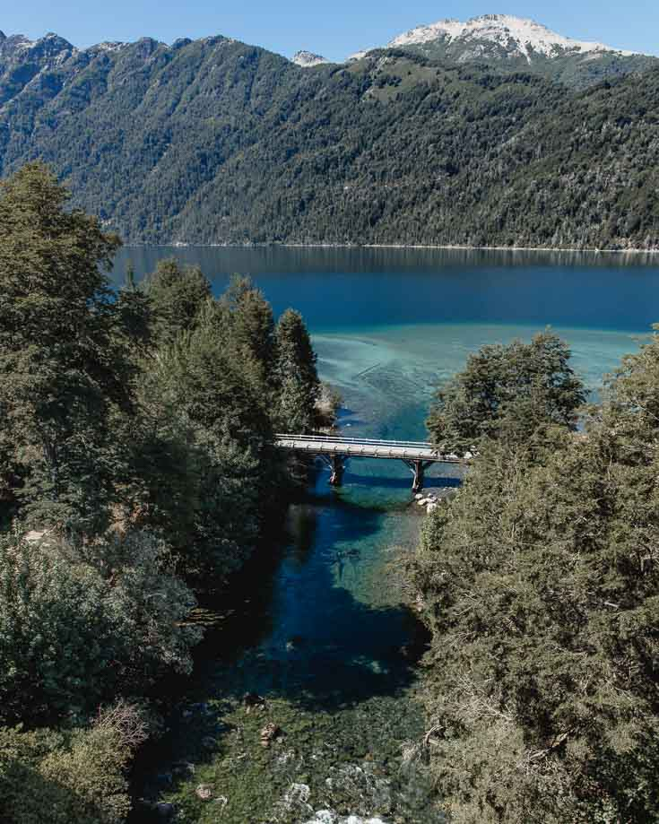 Views of a bridge over turquoise lake and  Patagonian river on Ruta 40
