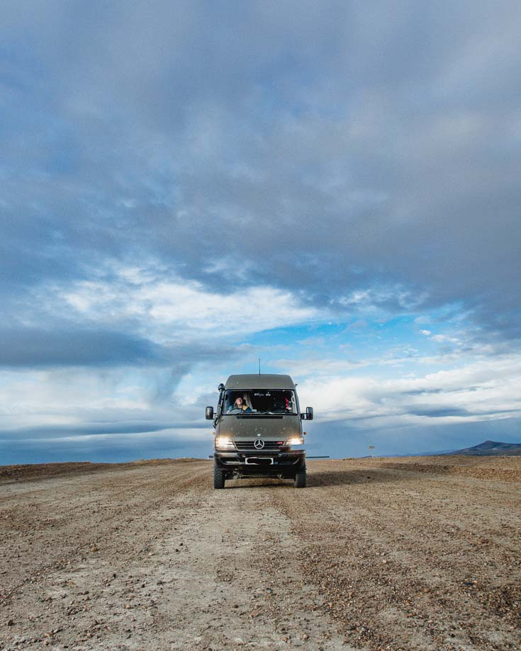 Driving near the coast on gravel track in Patagonia