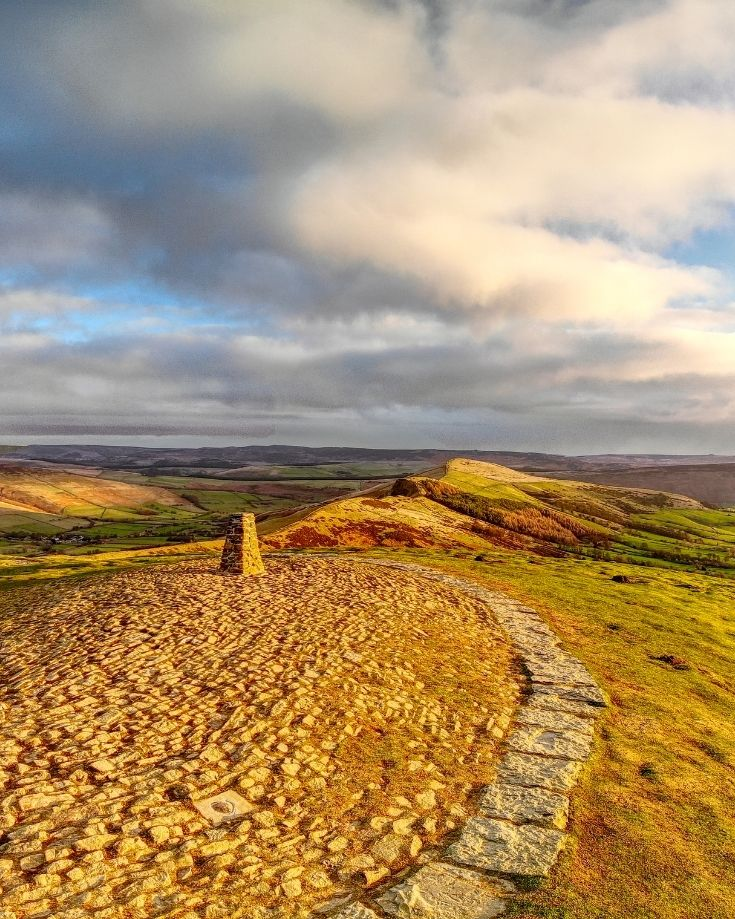 Morning sun over Mam Tor in the Peak District