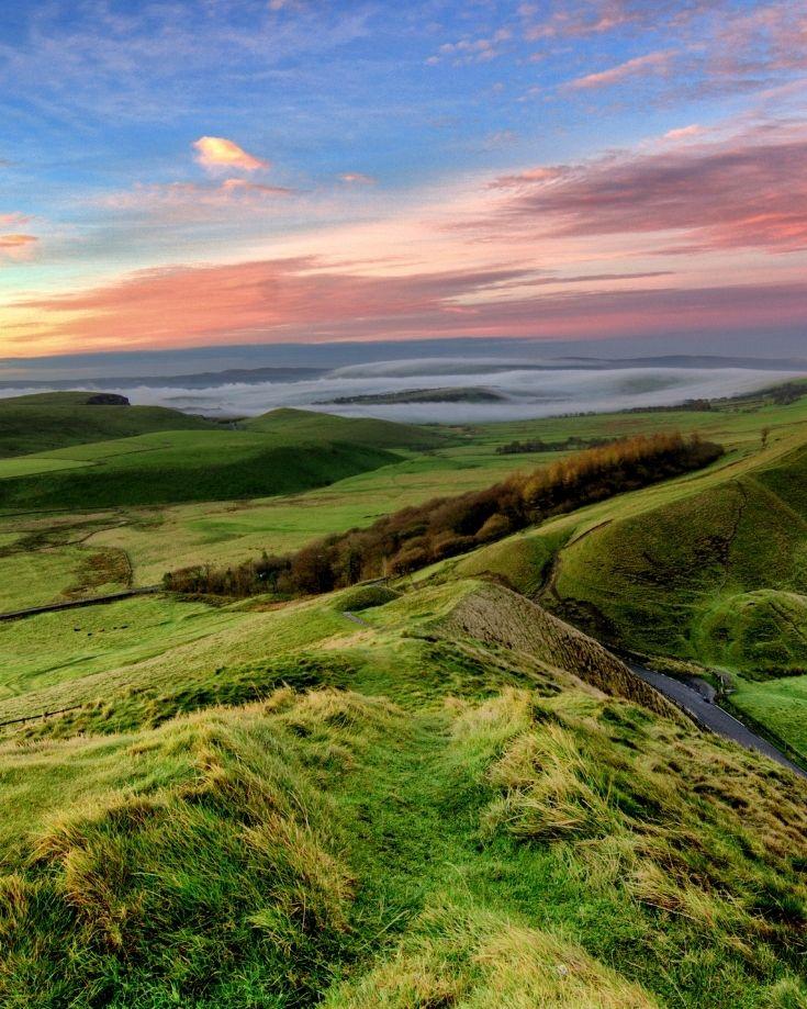 Sunrise over Mam Tor in Peak District National Park