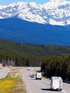 RV driving down Banff National Park Road