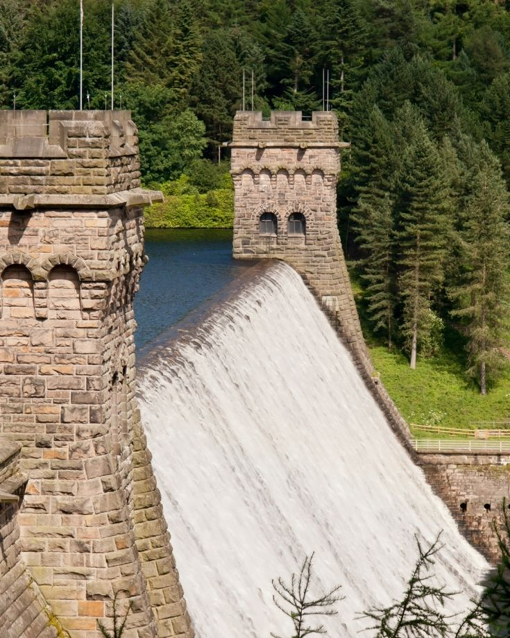 Water flowing over the dam wall at Derwent Reservoir