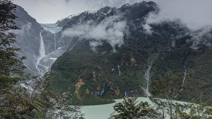 The Hanging Glacier and many waterfalls at Laguna Témpanos