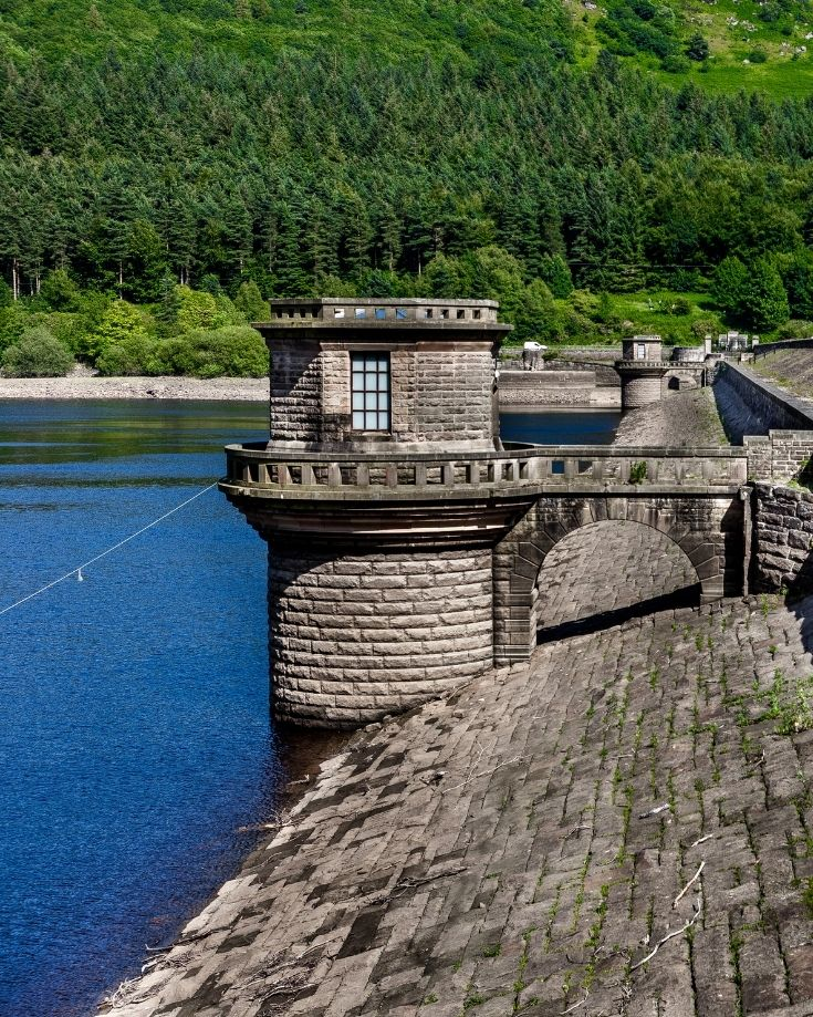 Scenic view of Ladybower Reservoir and Dam