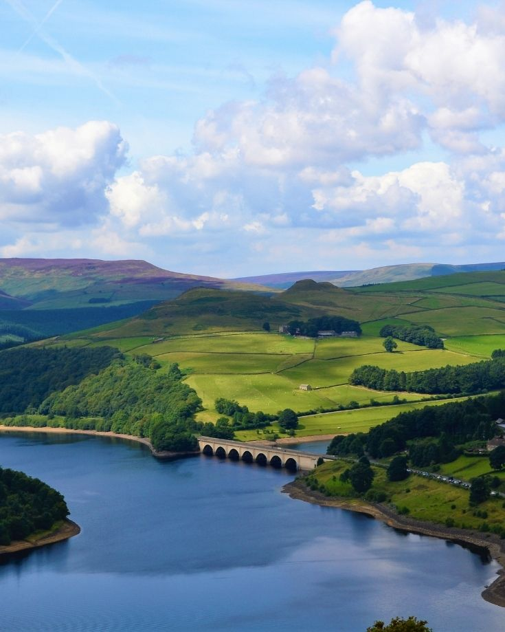 Aerial Photo of Ladybower Reservoir in the English Peak District