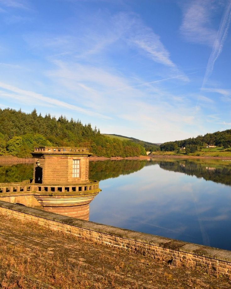scenic views of ladybower reservoir and dam at sunset
