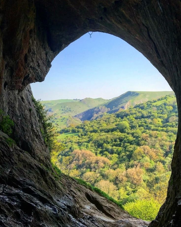 View of the Manifold Valley, Peak District from inside Thor's Cave