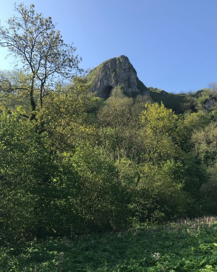Scenic views of Thor's Cave in The Peak District National Park