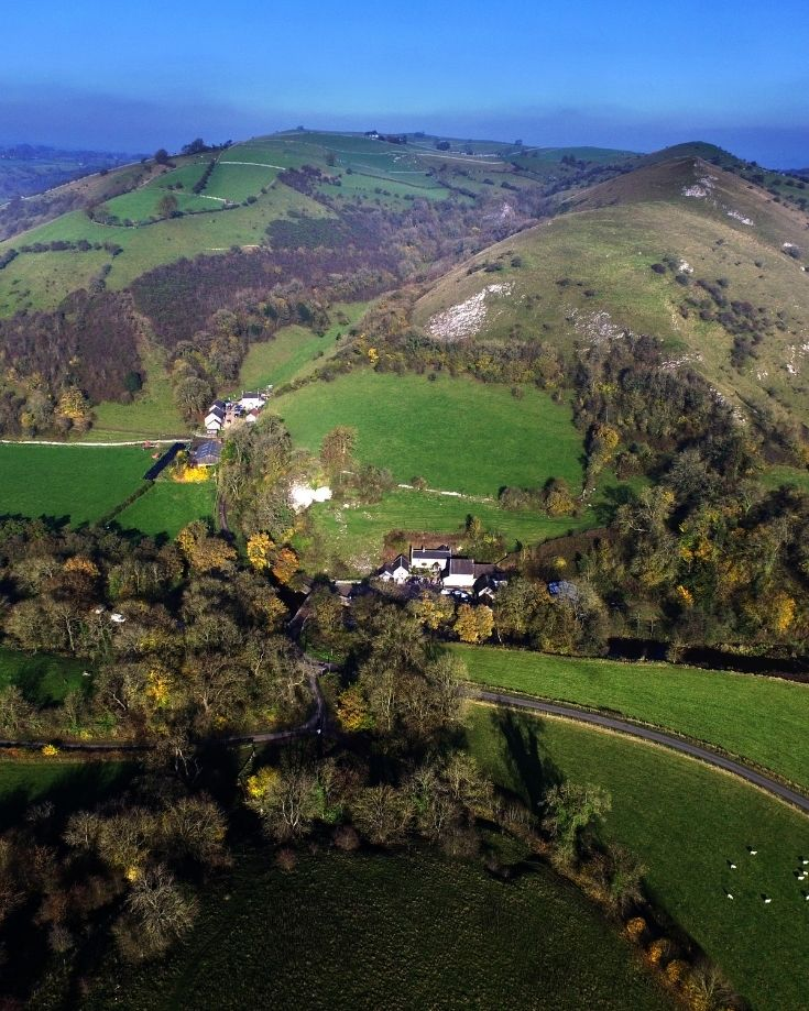 Aerial views of Wetton Mill, Manifold Valley in the Peak Distrct