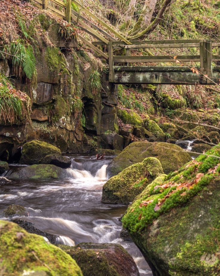 wooden bridge over the stream in the Peak District