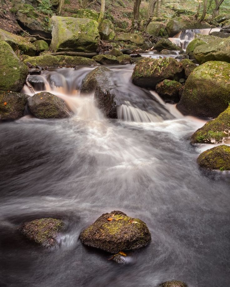 A stream cascading through Padley Gorge in the Peak District