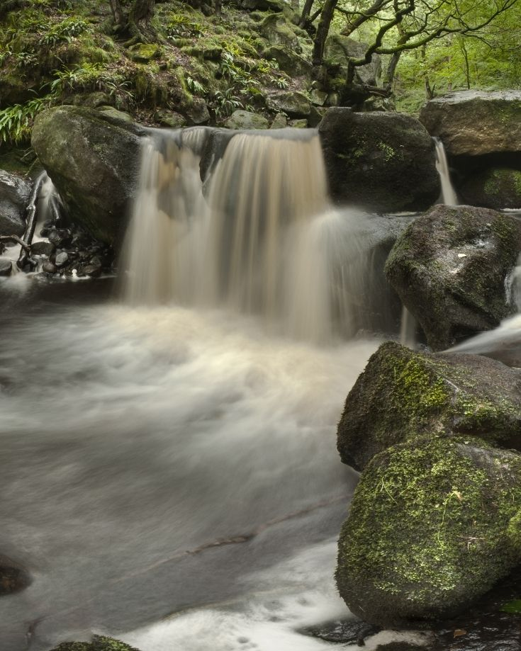 small waterfall in padley gorge