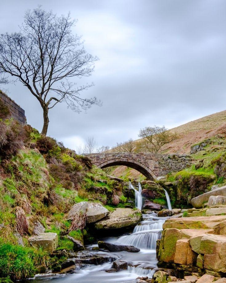 three shires head waterfall where Derbyshire, Cheshire and Staffordhsire meet