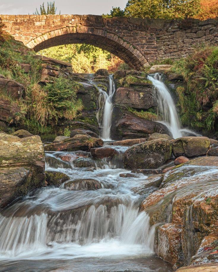 Waterfall at the packhorse stone at Three Shires Walk