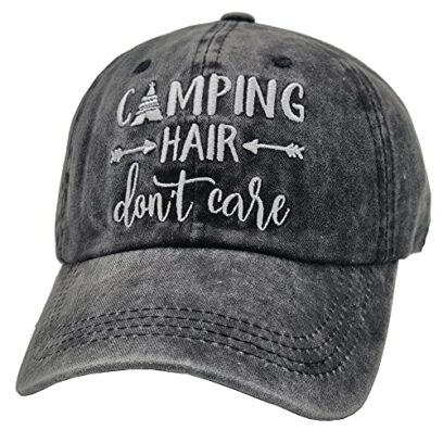 Embroidered Camping Hair Don't Care Baseball Hat